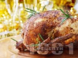 Пълнено коледно пиле със краве, топено и крема сирене, кашкавал и хляб на фурна - снимка на рецептата